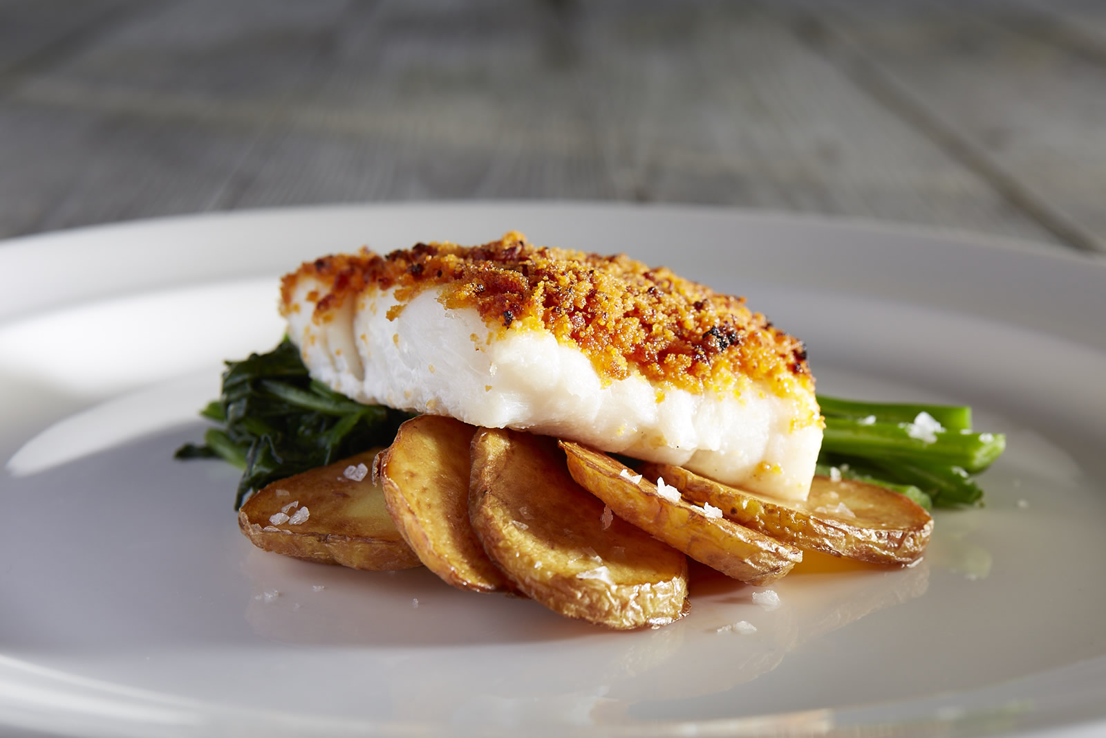 chorizo crusted cod loin with Roasted Pepper and smoked paprika sauce